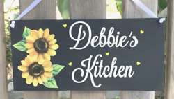 SUNFLOWER WOOD SIGN PERSONALIZED FARMHOUSE RUSTIC HOME LOVE SUNFLOWERS DECOR $12.95