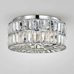 Modern Flush Mount Crystal Chandelier 4 Light Fixture Low Profile Ceiling Lamp C