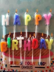 quot;Happy Birthdayquot; Novelty Birthday Candles Milticoloured Celebration $4.97
