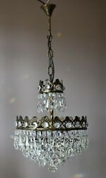 Antique Vintage Brass Crystal Chandelier French Lamp Pendant Home Interior GBP 675.00