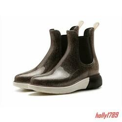 New Womens Shiny Jelly Wedge Heel Ankle Rain Boots platform comfort Casual Shoes $43.11
