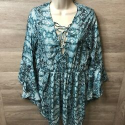 Boohoo Womens Large Blue Snake Flare Sleeve Mini Beach Dress NEW $18.99
