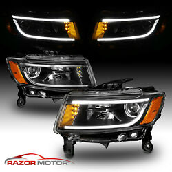 LED Bar 2014-2016 Jeep Grand Cherokee LED Bar Projector Black Headlights Pair $283.99