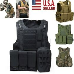 Military Vest Tactical Plate Carrier Holster Police Molle Assault Combat Gear US $38.94