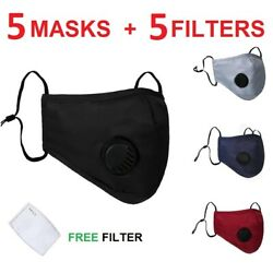 PACK OF 3 Washable Reusable Cotton Face Masks with Valve & Filter Pocket $15.99