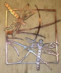 Dragonfly Scene Wall Metal Art Hanging with Rustic Copper Finish $54.43