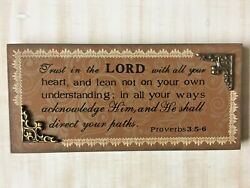 Trust in The Lord Wood Look Inspirational Wall Art Table Top Proverbs 3:5 6 $12.99