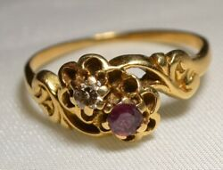 Victorian Antique 14kt Gold Ruby And Diamond Ring Size 6 1 4 Free Shipping $319.00