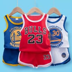 Kids Baby Boys Basketball Clothes Summer Child Boy Sports Outfits Clothes Sets $8.49
