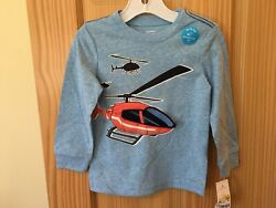 New Carter#x27;s Boys Helicopter Tee Shirt Top Toddler Blue Interactive 2T3T4T5T $14.98
