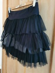 Black Satin Net Tiered Mini Rara Skirt 10 12 Gothic Ruffle Frilly Cosplay Tutu