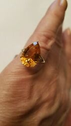 5.26 CT DARK CITRINE & ( 2 PCS)  DIAMOND 10KT SOLID YELLOW GOLD RING SIZE 7 $129.99