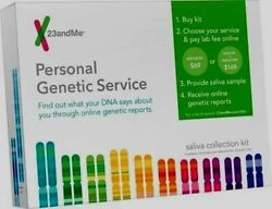 23 and Me Personal Genetic Service DNA Saliva Collection Kit New Lab Fee Extra $29.99