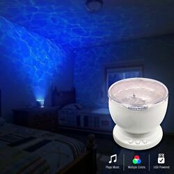 NIB Multicolor Ocean Wave LED Light Projector Night Lamp with MP3 Speaker USB $19.99