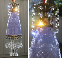 Vintage lavender Lady cupcake glass crystal Brass SWAG lamp chandelier purple $75.00