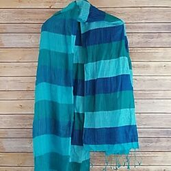 Large Blue Striped Beach Cover Up Scarf Wrap $11.02