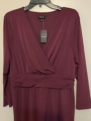 Torrid Wine Color  Midi Dress Size14 pencil Skirt style NEw With Tags $30.00
