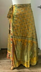 Recycled Sari Silk Wrap Skirt Mustard Yellow Leaf Pattern (Long) Boho Hippie $20.00