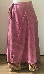 Recycled Sari Silk Wrap Skirt Dark Pink Paisley Pattern (Long) Boho Hippie $20.00