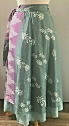 Recycled Sari Silk Wrap Skirt Light Aqua Flower Pattern (Long) Boho Hippie $20.00