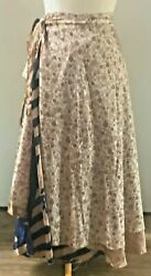 Recycled Sari Silk Wrap Skirt Ivory Floral Pattern (Long) Boho Hippie $20.00