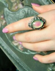Victorian Trading Co Sterling Silver Filigree Color Changing Mood Ring Sz 7 $49.95
