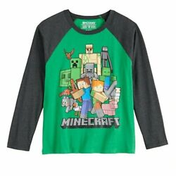 Minecraft Group Long Sleeve Black & Green Boys Girls Shirt Tee Size 6-8 or 10-12 $19.99