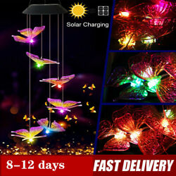 Solar Powered LED Light Butterfly Wind Chime Color Changing Lamp Garden Decorate $9.96