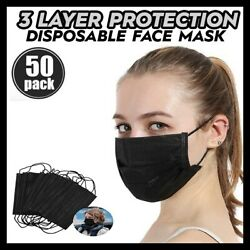 50 PC BLACK Face Mask Mouth & Nose Protector Respirator Masks with Filter NEW $15.95