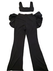 Want My Look 2 Piece BLACK outfit Crop Top Ruffle Slit Pants $24.99