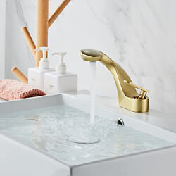 Brushed Gold Tap Bathroom Faucet Basin Faucet Cold amp; Hot Water Mixer Deck Mount $107.99