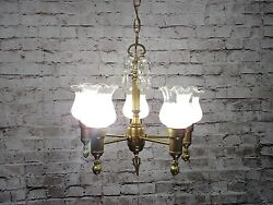 Antique Vintage Chandelier Brass Glass Fluted Shades Restored Federal Fixture $295.00