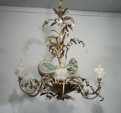 Antique Vintage Chandelier Mermaids Crystals Unique Ornate 6 Lt Fixture Floral $550.00