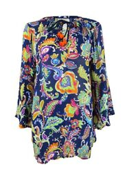 Anne Cole Women's Paisley Pom Bell Sleeve Tunic Swim Top Cover-Up