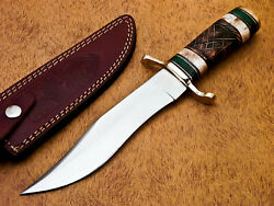 HAND FORGED STAINLESS STEEL HUNTING KNIFE-STAINED CAMEL BONE HANDLE-MP-7118 $14.99
