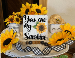 YOU ARE MY SUNSHINE SUNFLOWER MINI TIERED TRAY SIGN NURSERY ROOM RUSTIC DECOR $7.25