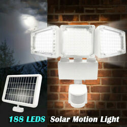 188 LED Outdoor Solar Motion Sensor Flood Light Garden Wall 3 Head Security Lamp