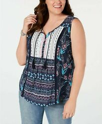 Styleamp;Co Womens PLUS Boho Blue Floral Printed Tasseled Button Top Blouse 0X 4X $7.49