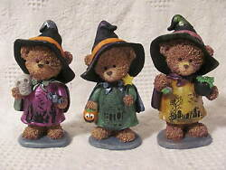 Halloween Bear Witches 5 1 2quot; tall With Scenes on Their Dress Fronts Set of 3 $22.50