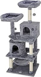 Pet Furniture Activity Tower 57quot; Cat Tree Condo Play House with Perches Hammock $52.99