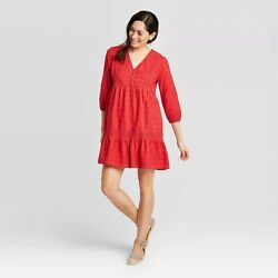 New Knox Rose 34 Sleeve Tiered Mini Dress Med Red Boho Chic Casual Baby Doll $19.95