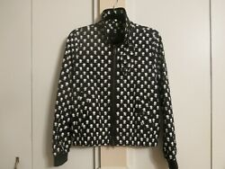 COACH womens designer black and white floral bomber jacket size 4