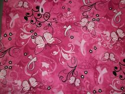Breast Cancer Pink Butterflies and Floral Silhouettes      18 X 21  FQ      $9.95
