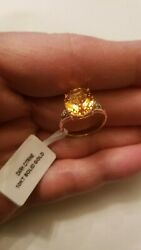 4.41 CT DARK CITRINE & ( 2 PCS)  DIAMOND 10KT SOLID YELLOW GOLD RING SIZE 7 $129.99