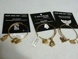 ALEX and ANI lot of 3 gold bangle Bracelets Eagle Sailboat Knight NWT $29.95