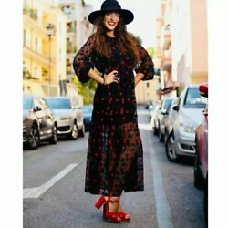 NWT ZARA BOHEMIAN Maxi Embroidered DRESS SIZE SMALL quot;Squot; $107.99