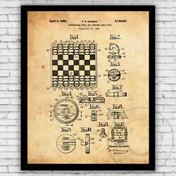 Convertible Chess Checkers Board Game Patent Art Print Size and Frame Options $17.00