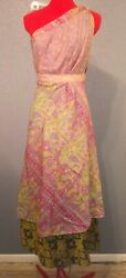 Vintage Reversible Silk Sari Wrap Skirt Hippie Chic Boho Coverup Dress 24-38