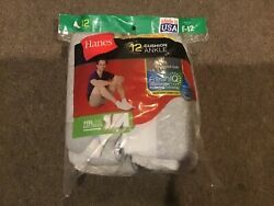 Hanes Mens Xtemp Cushioned Ankle White Pack of 12 Socks Size 6 12 $24.99