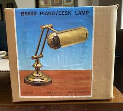 Vintage Brass Bankers Desk Lamp Piano Light Adjustable Weighted Base 1980s NIB $39.99